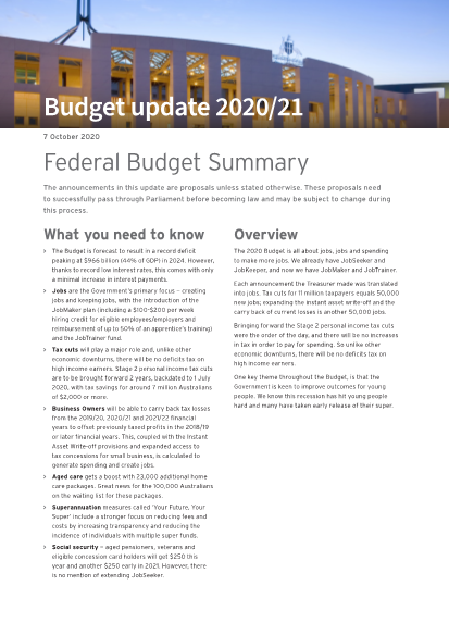 Federal Budget Summary (Budget update 2020/21)